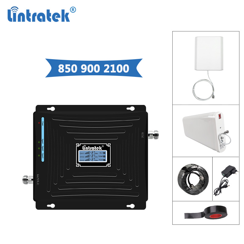 Lintratek Repeater GSM 900 850Mhz 3G 2100Mhz Signal Booster 3G 2G Amplifier CDMA 850Mhz WCDMA 2100 GSM 900 Repeater B5/B1 @8