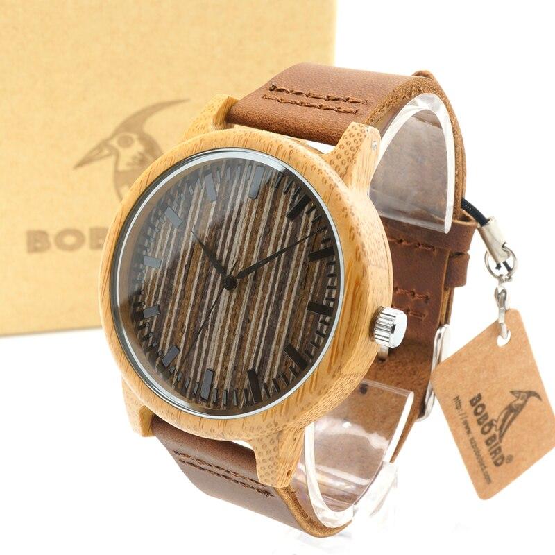 BOBO BIRD A18 Mens Bamboo Wooden Watch Wood Dial Rou