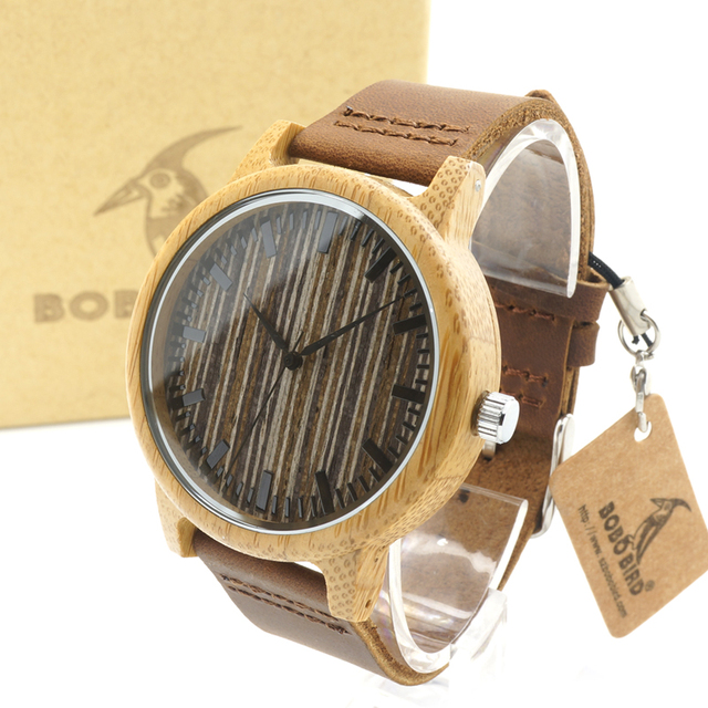 BOBO BIRD A18  Mens Bamboo Wooden Watch Wood Dial Round Bamboo Case Quartz Wristwatch in Gift Box  mens watches top brand luxury