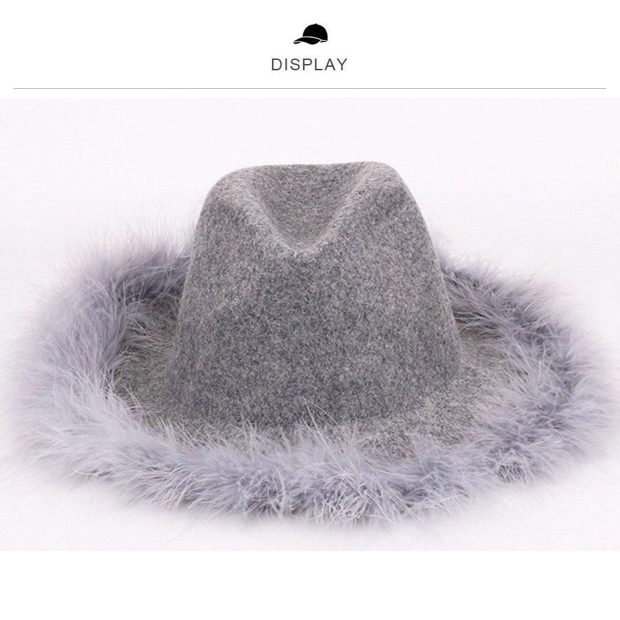 Wide Brim Floppy 100/% Wool Hats for Women Fedoras Cashmere Jazz Cap Ostrich Hair Autumn Spring Panama Top Hat