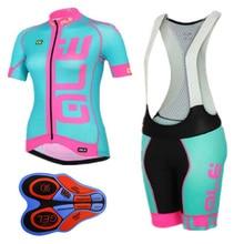 Pro mujeres de verano de manga corta ciclismo Jersey ALE Bib Shorts Gel Pad  bicicleta ropa db3e8e2d0