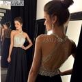 Линии длинные бисером кристалл черный холтер пром платье с плеча 2016 новый пром платья гала jurken