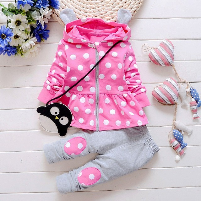 heat! 2016 new autumn baby girls suit 100% cotton clothing coat + pants + bag three sets of children Free shipping brand girls