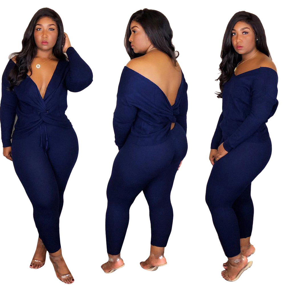 Women Plus Size Bodysuit Two Pieces Knitted Long Sleeve ...