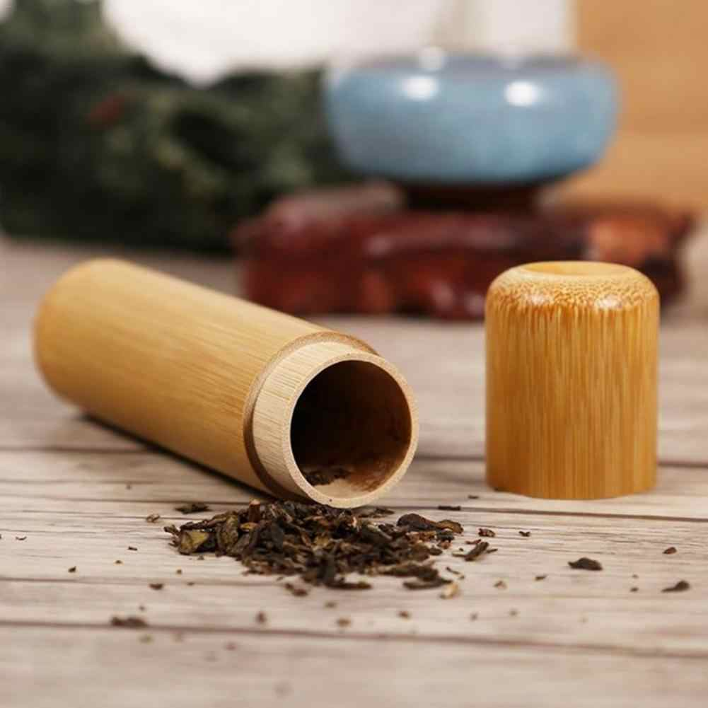1 قطعة جولة شكل الشاي تخزين مربع المحمولة اليدوية الطبيعية الشاي جرة تخزين حامل الحاويات السفر علبة 10