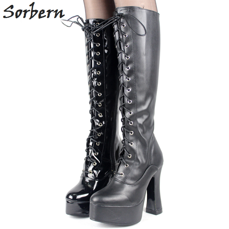 Sorbern Exotic Fetish Shoes Knee High Boots For Women 5 Chunky High Heel Platform Lace Up Zipper Boot Lolita Shoes Custom Color lolita pink white lace up high heel student shoes sweet lady cosplay platform chunky block mid calf short boots 43