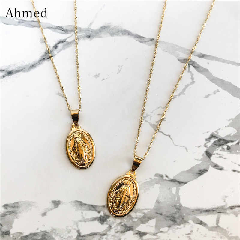 Ahmed Fashion Religious Virgin Mary Necklace for Women Trendy Mother Mary Necklace Pendant Cross Catholic Gifts Jewelry