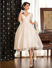 2015 Sexy Elegant V-neck Tea Length Wedding Dresses Zip Back Short Sleeves Lace Bridal Party Gowns Custom Made Plus Size ZY4603