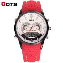 46715e08afe OTS Homens De Marcas de Luxo Moda Silicone Strap Analógico Digital Display  Led Relógios Esporte Cronômetro Caixa de Aço 3Bar Rel.