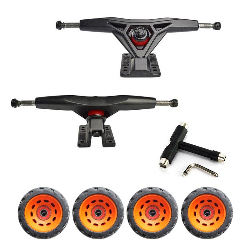 Pro reinforce 7inch gravity casting truck for longboard and 76mm off-road TPR wheels longboard Mountain board truck wheels