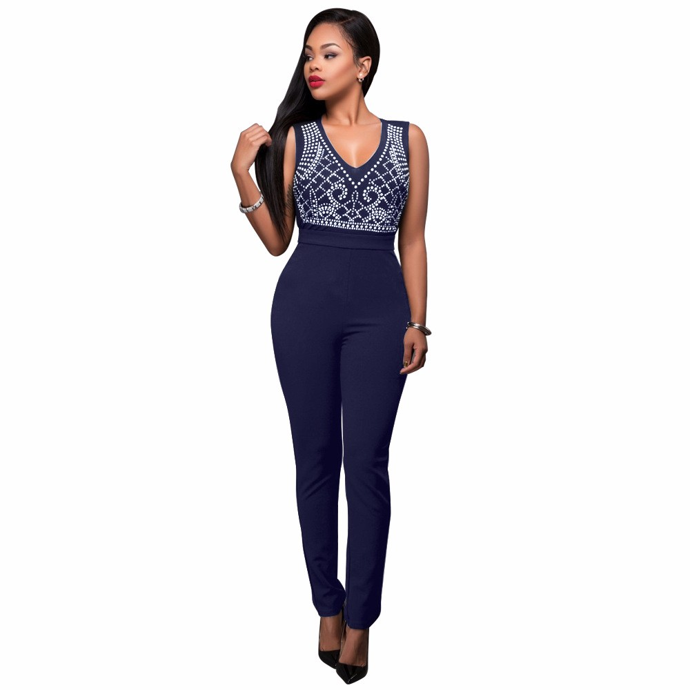 2017 New Summer Women Jumpsuit Bandage Black Bodysuit V-Neck Sleeveless Print Zipper Back Sexy Bodycon Jumpsuits And Rompers 6