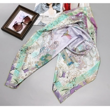 Большой квадратный шелковый шарф с принтом цветов и птиц, платок хиджаб 90*90 см, женские шарфы для обертывания волос