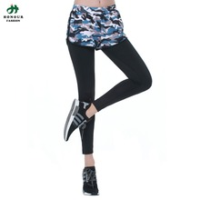 Women Yoga Top 2 in 1 Full Length Pants Slimming Fitness colorful Fake Two Pieces Legging Size S-L lwq-0047