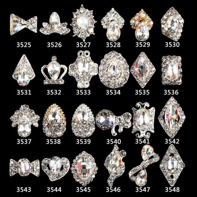 10Pcs/lot 3D Nail Art Alloy Rhinestone Jewelry Crystal AB Diamond Silver Frame Alloy DIY Gel Nail Polish Nail Decorations @3525