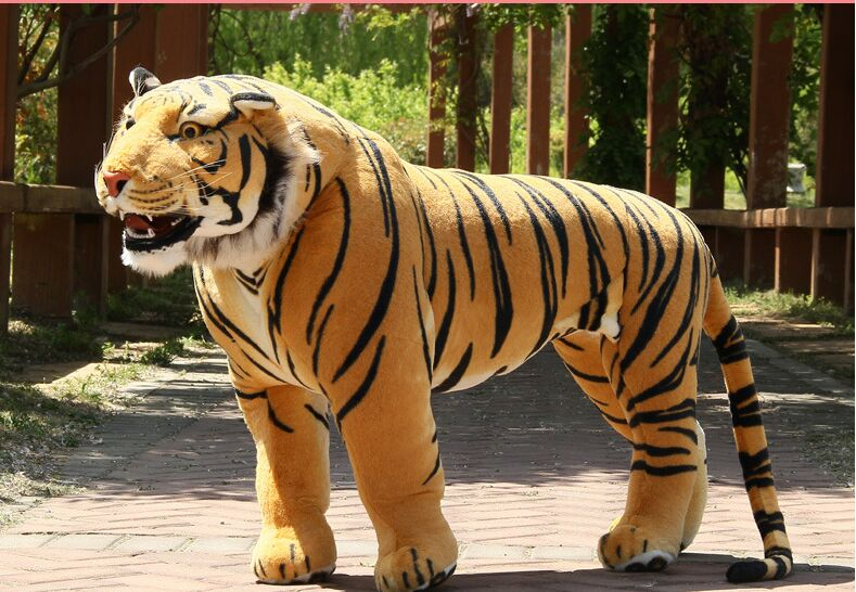 big plush tiger toy simulation yellow standing tiger doll birthday gift about 90x70cm 2995