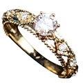 OEM Personalizada 0.5 CTTW Positivo Sólido 18 K Oro Amarillo Diamante Natural Anillo de Compromiso Joyería Fina Para Las Mujeres Joyería