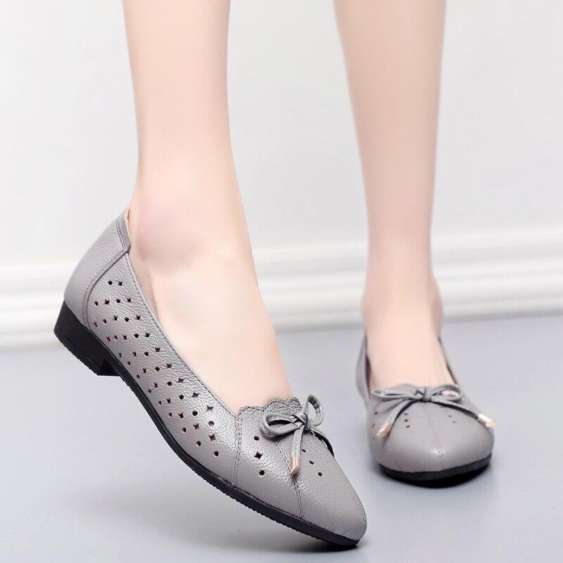 2018womens sandals shoe Zapatos planos de cuero genuino de la mujer - Zapatos de mujer - foto 4