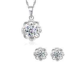 925 Sterling Silver Jewelry Sets Flower Crystal Pendant Neck