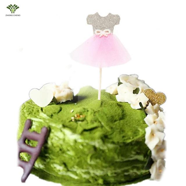 12pcspack Lace Dress Birthday Cake Cupcake Topper Princess Skirt