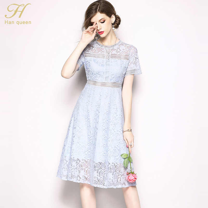 08a683e5cfc7e H Han Queen Women 2018 Summer Lace Dress Vestidos Ladies O-Neck stitching  Casual Female Slim Sexy Party Dresses