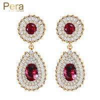 Luxury 18K Real Gold Filled Big Round Ruby Red CZ Diamond Dubai Bridal Wedding Drop Earrings