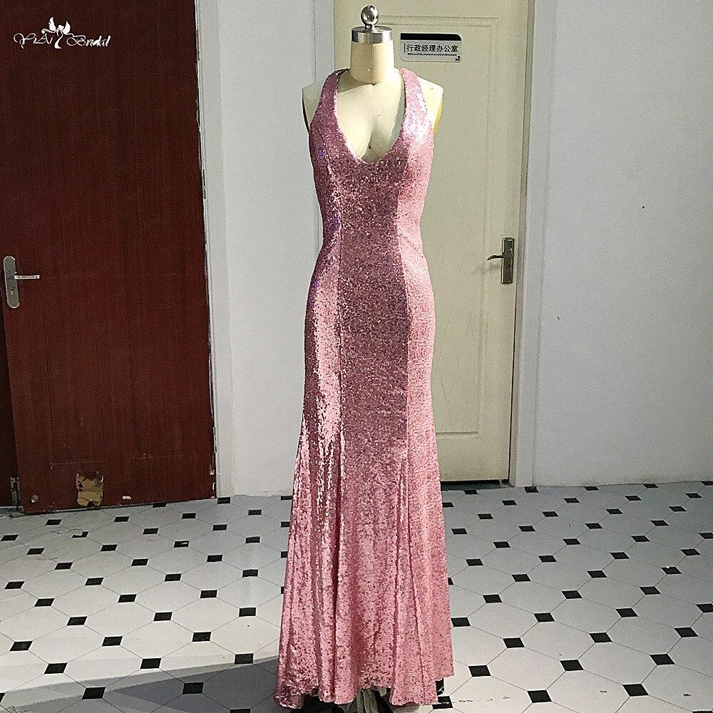 RSE875 robe de soirée en or Rose 2018 licou col en V robe à paillettes formelle brillant dos nu robe de soirée sirène Abendkleider