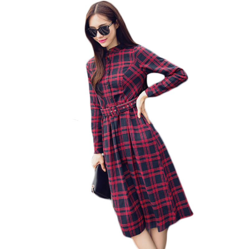 Casual Shirt Dress Red Green Women Spring Autumn Winter Dress 2017 New Fashion Long Sleeve Ladies Button Down Midi Dress XH1110 2