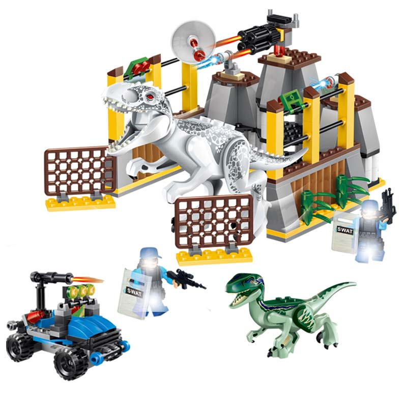 Jurassic World 2 Blocks Legoinglys Jurassic Park Dinosaur Transport Tyrannosaurus Rex Animal Bricks Toys For Children Gift