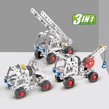 3в1 городской инженерный автомобиль грузовик из нержавеющей стали сплав металла разборка строительный блок с инструментами кирпич детская развивающая игрушка