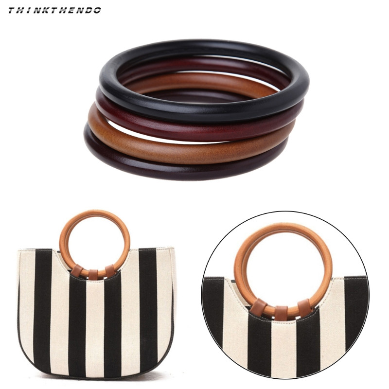THINKTHENDO Fashion New Round Wooden Handle For Handmade Handbag DIY Tote Purse Frame Making Bag Hanger High Quality 4 Colors