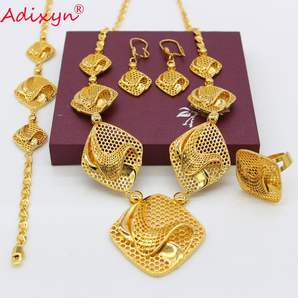 Adixyn Rhombus Ring/Earrings/Necklaces/Bracelet Jewelry sets for Women Gold Color African/Nigeria Jewellery Gifts N09052Adixyn Rhombus Ring/Earrings/Necklaces/Bracelet Jewelry sets for Women Gold Color African/Nigeria Jewellery Gifts N09052