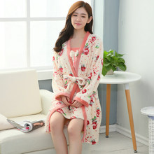 64a07fcb11 2PCS Thick Warm Flannel Kimono Robes Set for Women Winter Long Sleeve Coral  Velvet Bathrobe Sexy Lingerie Night Dress Nightgowns