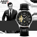 Nary Brand luxury Mens watches Automatic mechanical watch tourbillon clock leather Casual business wristwatch relojes