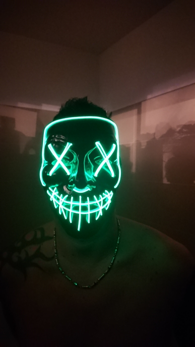 Viral Halloween Led Mask - Green with Model
