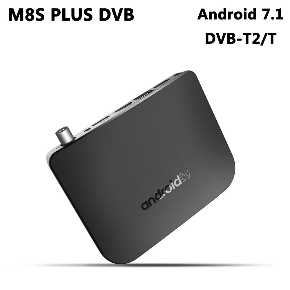 DVB-T2 Android 7.1 TV Box Amlogic S905D Quad Core 1GB RAM 8GB ROM 4K HD Media Player Netflix MECOOL M8S PLUS DVB-T Smart Box android 7 1 1gb 8gb dvb t2 quad core ott bt4 0 h 265 mpeg 4 dvb t2 tv tuner support netflix youtube google 4k smart set top box