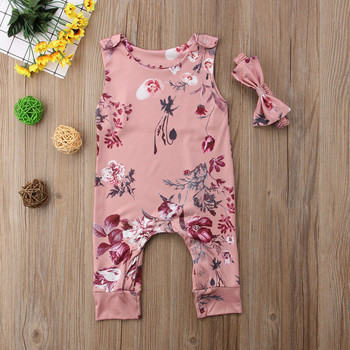 Floral Newborn Baby Girls Clothing Sets Sleevless Printed Rompers Jumpsuit Playsuit Headband Infant Baby Clothes Sets Outfits 1