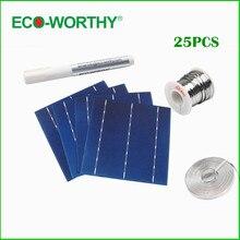 ECO-WORTHY 25 pcs 6×6 Poli Células Solares Tabulação Fio Ônibus Caneta Fluxo Fio para Painéis Solares DIY 156mm Policristalino Solar