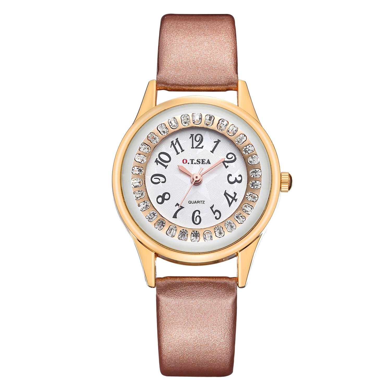цены O.T.Sea Elegant Women Watch Rhinestone Fashion Dress Ladies Quartz Watch Leather Strap Bracelet Wristwatch For Woman Reloj Mujer