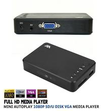 Mini Full HD 1080P USB External Autoplay HDD Media Player With VGA AV output SD/U Disk TV Video HDD MultiMedia Player