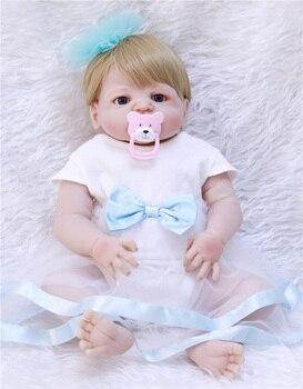 23inch Full silicone reborn baby dolls Toy Baby-Reborn lifelike modeling vinyl newborn bathe princess toddler kids toys