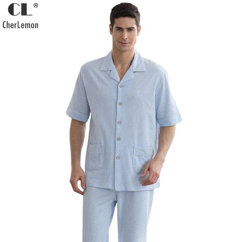 CherLemon Nightwear Mens Pure Colored Cotton Pajama Set Summer Casual Pinstripe Pyjamas Male Short Sleeve Long Pants Loungewear