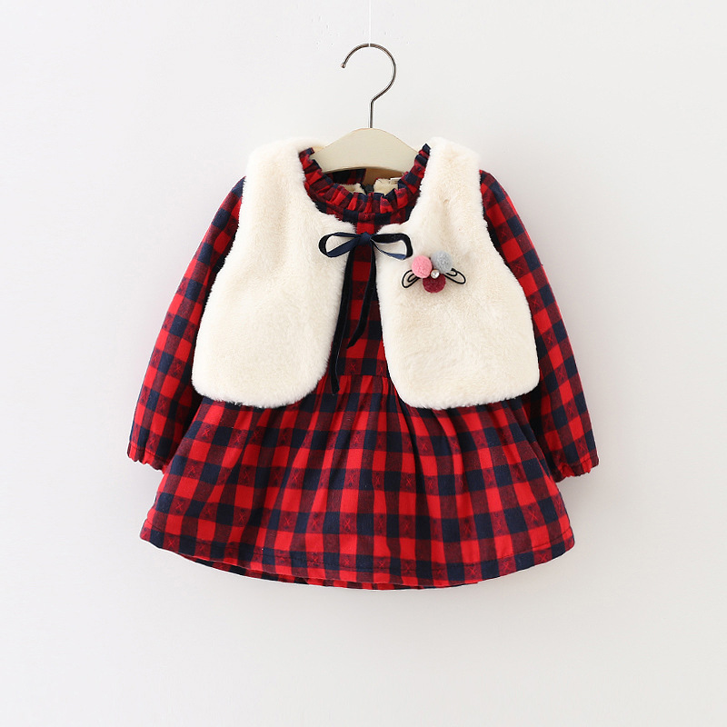 все цены на Baby girls Casual clothes Autumn /winter long sleeve plaid dress +vest 2pcs/sets