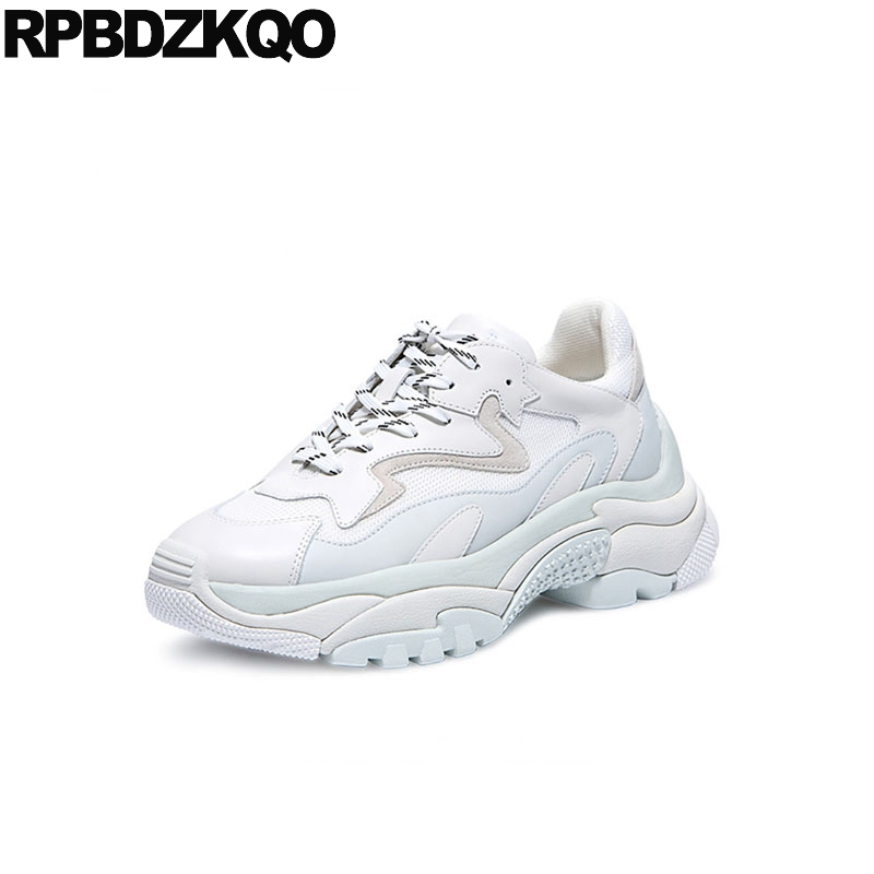 27833ca5ebb5 cowhide trainers elevator breathable white thick sole wedge creepers  platform shoes lace up sneakers muffin women mesh luxury