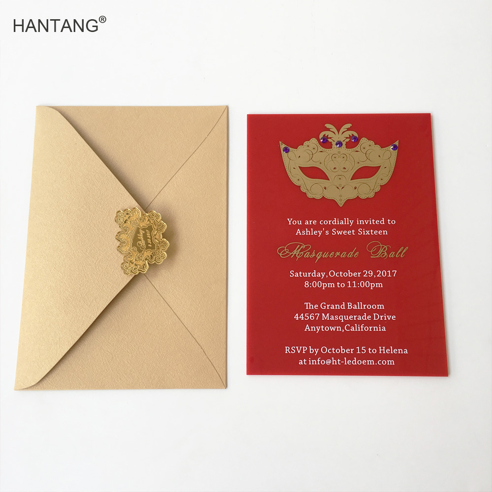 Customized 5x7inch Red Acrylic Birthday Invitation Card Sweet ...