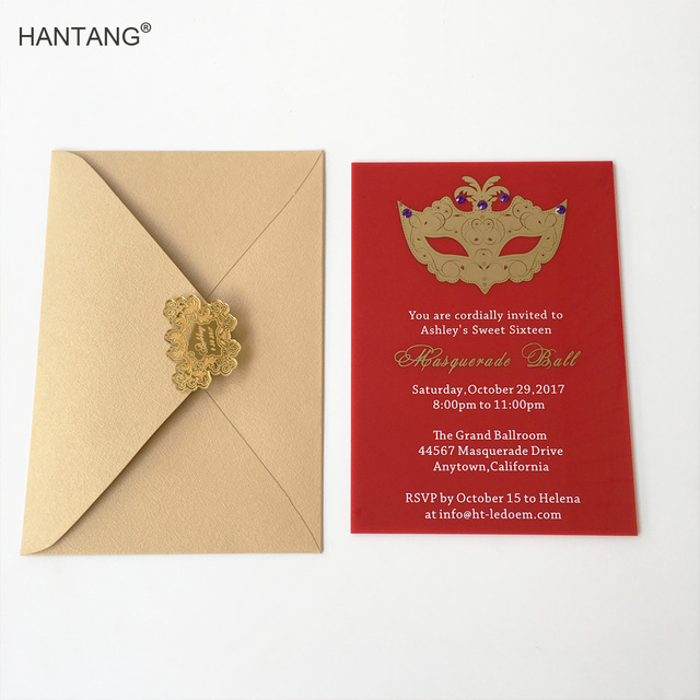 Customized 5x7inch Red Acrylic Birthday Invitation Card Sweet Sixteen Masquerade Ball 100pcs Per Lot