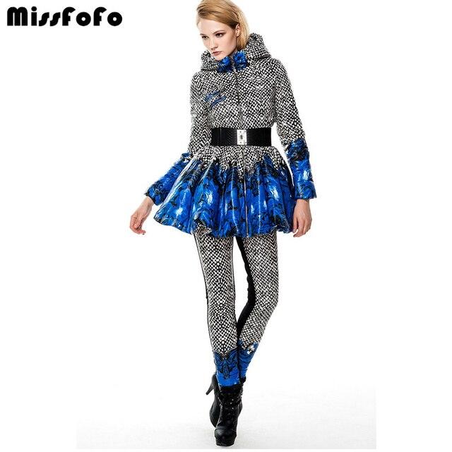 MissFoFo женский пуховик CLJ куртка брюки Мода Fancy расширение нижней тонкий женский костюм платье-брюки дизайн ветровка зима