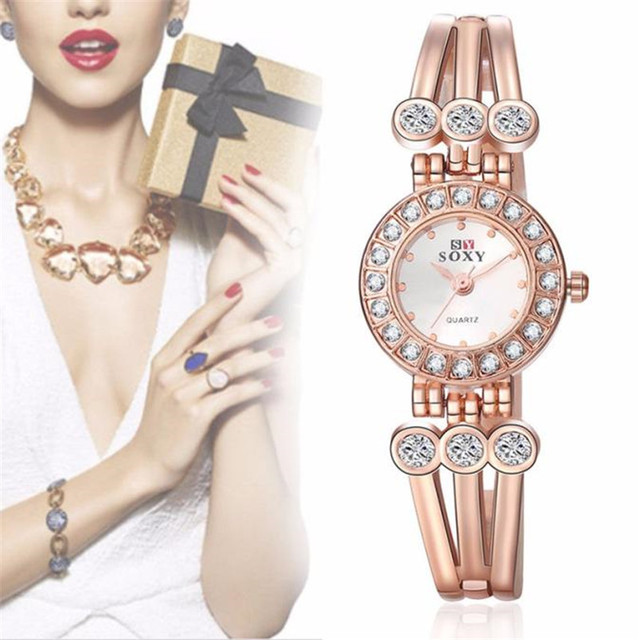 Brand Watch Women New Fashion Rose Gold Quartz Watch Luxury Rhinestone Bracelet