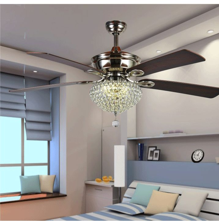 Aliexpress.com : Buy 52inch K9 Crystal Simple Fashion Dining Room Living  Room Modern Antique Wooden Blades Ceiling Fan Lamp Fan Light Remote Control  From ...