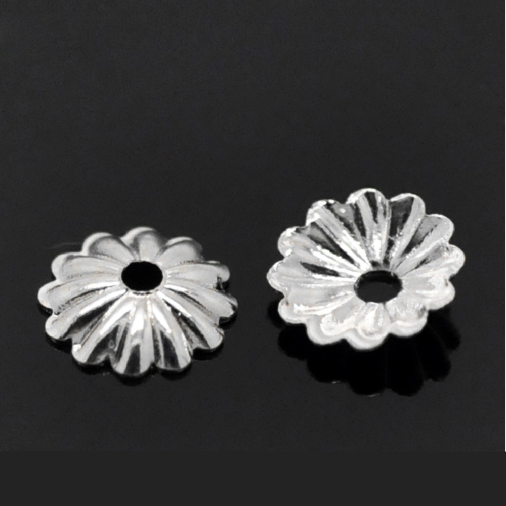 DoreenBeads Copper Beads Caps Flower Silver color (Fits 6mm-12mm Beads) Stripe Pattern 6mm( 2/8