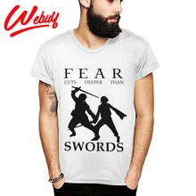 Unique Design For Man Tee Shirt Fear Cuts Deeper Than Swords Arya Stark T Shirt Not Today Funny 100% Soft Cotton Top Tee S-6XL(China)